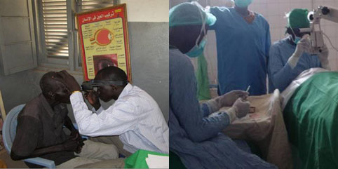 Opticians, patients and surgeons at Sightsavers, South Sudan