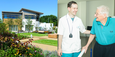 St Wilfrids hospice with a patient and carer