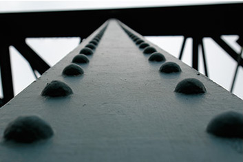 Painted iron girder