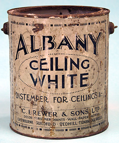 Old can of Albany white ceiling paint