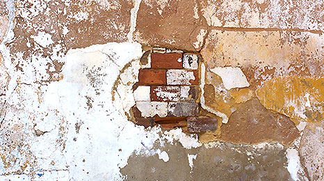 Broken brickwork