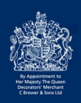 Royal Warrant. By appointment to Her Majesty the Queen Decorators' Merchant C Brewer & Sons Ltd