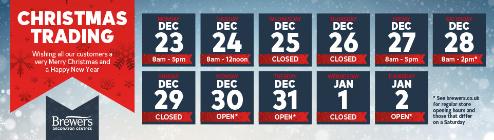 Christmas Opening - Closed Christmas Day, Boxing Day and New Years Day