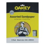 Assorted Sandpaper General Purpose 5 Pack