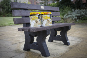 Crown Paints donated a bench for the grounds made from recycled product