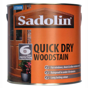 Sadolin Quick Dry Woodstain is rainproof in under 30 minutes.