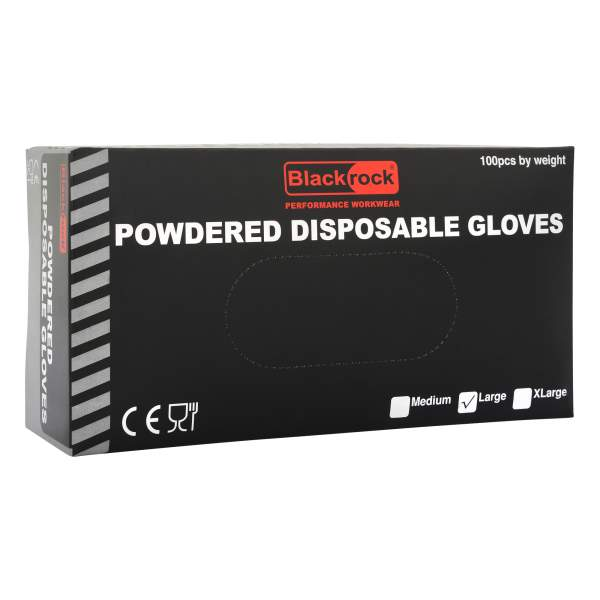 Powdered Disposable Gloves Box of 100