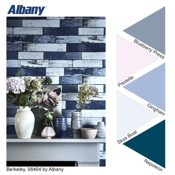 Albany Berkeley wallpaper and Blueberry Press, Pastelle, Gingham, Skye Boat and Napoleon paint colours