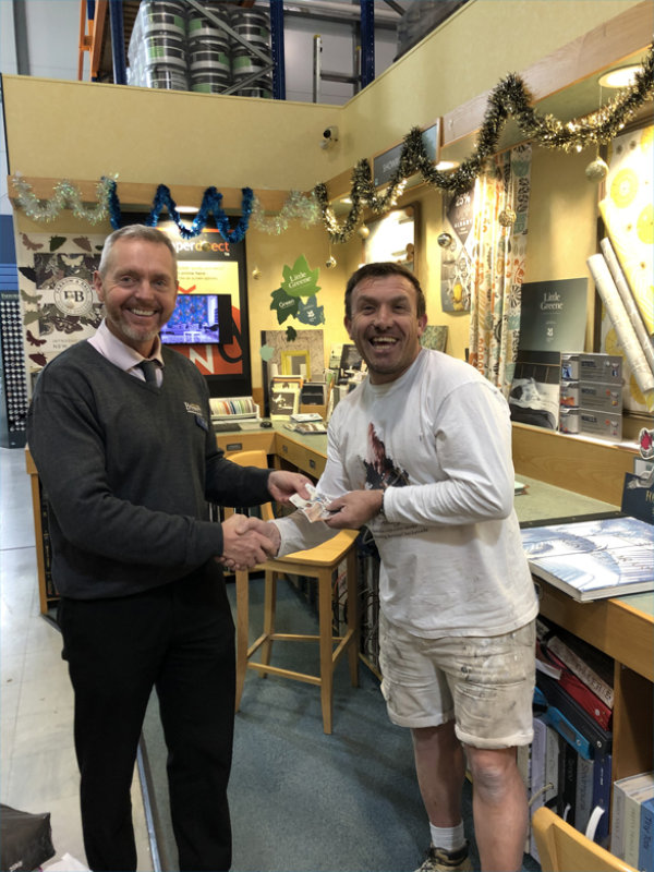 Lennox Childrens Cancer Fund 50/50 charity draw winner Phil Melville from P.J.M Decorating Services