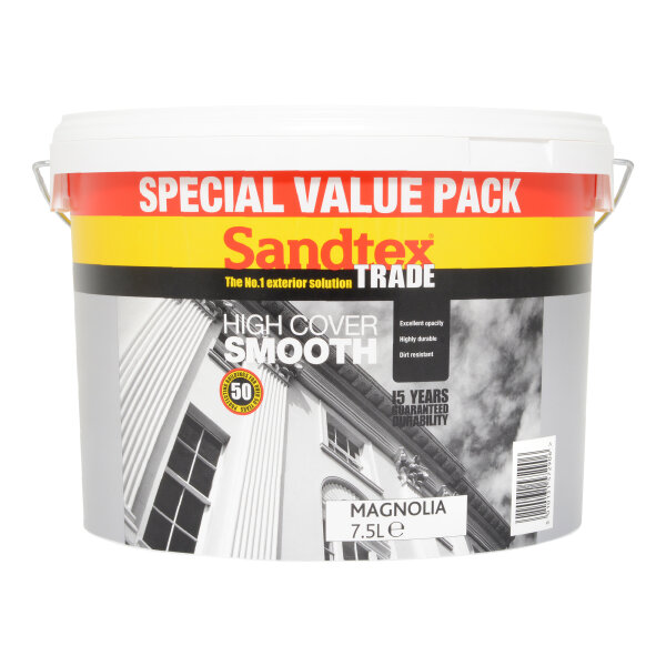 Sandtex Trade High Cover Smooth Magnolia (Ready Mixed) 7.5L