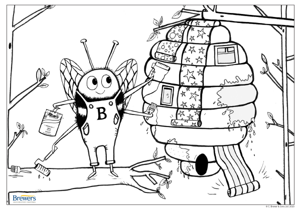 Brewers Bee colouring-in page