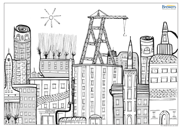 Decorators cityscape colouring-in page